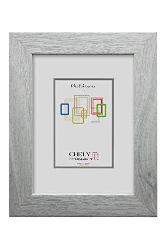 Chely Intermarket, Marco de Fotos 30x40 cm (Gris Azul 2004) MOD-274  Estilo galería   Marco de Madera para Decoración de Casa   Fotografías de Boda   moldura con Relieve.(274-30x40-0,65)