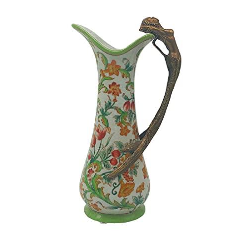 Mister Royce Vase Nixe, Porzellan und Messing Jugendstil, Retro H:25cm (Bunt)