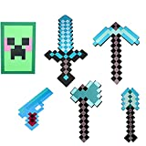 JYMEI Espada de Diamante de Espuma EVA,Espada de Goma con Forma de Diamante,Sword Toy Foam Sword,Foam Diamond Sword,Que Incluye Espadas,Picos,hachas,Pala,Pistolas,Escudos (2 Combinaciones)