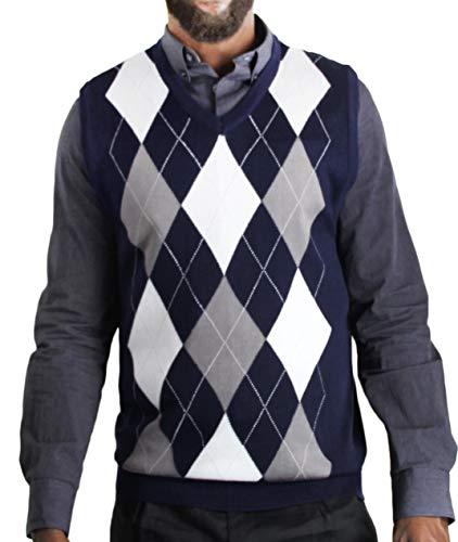 Blue Ocean Argyle Classic Sweater Vest-Medium Navy
