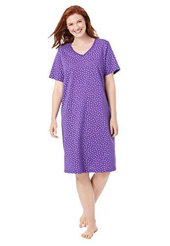 Dreams & Co. Women's Plus Size Print Sleepshirt Nightgown - 1X/2X, Plum Burst Dot