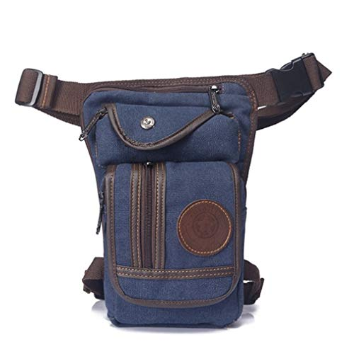 Hebetag Canvas Thigh Drop Leg Bag for Men Tactical Military Motorcycle Rider Multi-Pocket Waist Fanny Pack Mens Travel Hiking Climbing Cycling Outdoors