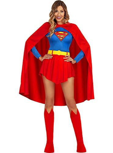 Funidelia   Disfraz de Supergirl Oficial para Mujer Talla S ▶ Kara Zor-El, Superhéroes, DC Comics - Color: Rojo - Licencia: 100% Oficial - Divertidos Disfraces y complementos