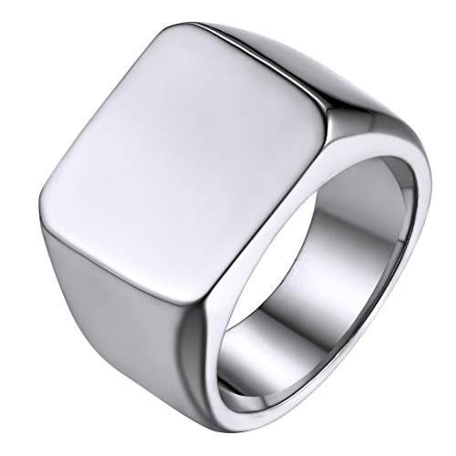 GoldChic Jewelry Stainless Steel Classical Signet Pinky Ring, Simple Plain Band Ring For Men, Size V½