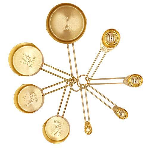 ACAMPTAR Gold Messbecher Messl?ffel Set Edelstahl 8 Stücke Trocken und Flüssig Zutaten Kochgeschirr