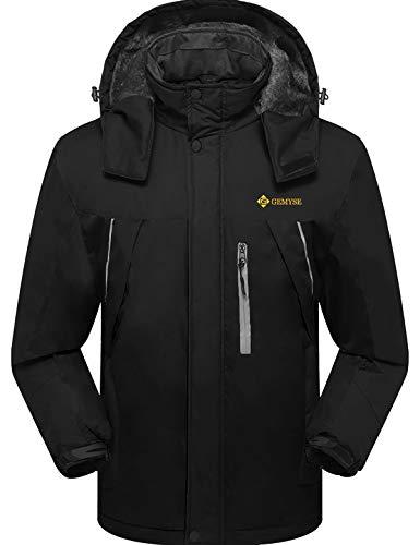 GEMYSE wasserdichte Skijacke für Herren Winddichte Fleece Outdoor-Winterjacke mit Kapuze (Schwarz,XL)
