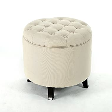 Belleze Modern Button Tufted Accent Storage Ottoman Lift Top Footstool 17-3/4  Round (Beige)