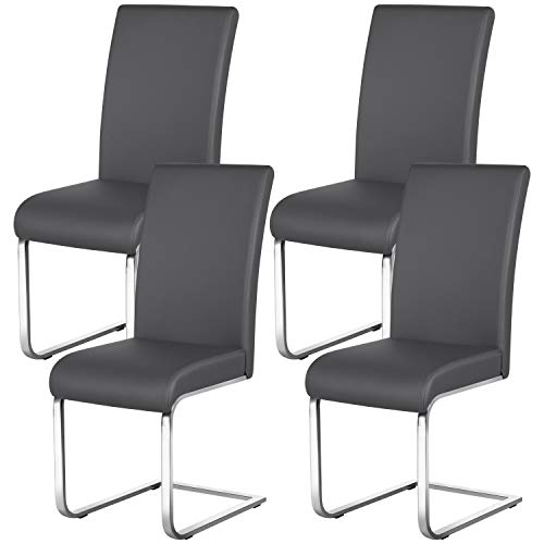 Yaheetech 4er Set Esszimmerstuhl Schwingstuhl Freischwinger stühle mit Rücklehne, 135 kg belastbar Grau