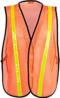 Safety Depot Economy Safety Vest Light Weight Mesh Durable Hi Vest Low Cost Value One Size Fits Most (Pack of 3) (8018C, Orange)
