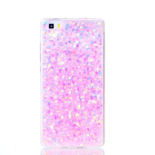 Huawei P8 Lite Funda cáscara teléfono, MUTOUREN Diseño Exclusivo Moda TPU Gel de Silicona Suave Lentejuelas Concha - Rosa