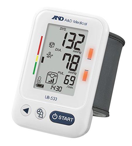 A&D Medical UB-533 Tensiómetro digital de muñeca, detección de pulso arrítmico, validado clínicamente, color blanco