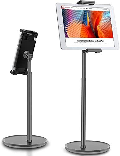 Thingy Club - Soporte para tableta ajustable en altura de aleación de aluminio para pantalla de 4.7 a 12.9 pulgadas, iPhone, Samsung, iPad, Kindle, lector de libros electrónicos (negro)