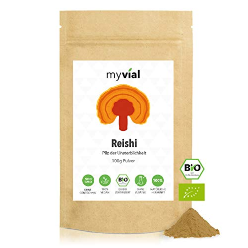 myvial® Reishi Pulver Bio 100g - Glänzender Lackporling - Vegan - 100% rein und natürlich - Ohne Zusätze - Plastikfrei verpackt