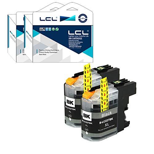 LCL Cartucho de Tinta Compatible LC227 LC227XL LC227XLBK LC225 LC225XL (2 Negro) Reemplazo para Brother MFC-J4420DW J4620DW J4625DW DCP-J4120DW