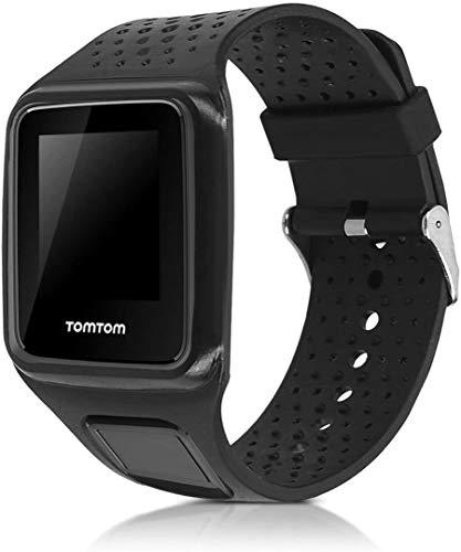 Ersatz-Uhrenarmband aus Silikon für TomTom Runner 1 / Multi-Sport / Golfer 1 – Fitness-Tracker Band mit Verschluss (schwarz)