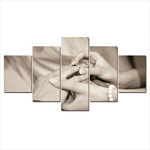 HONGFU-Anillo de Diamantes de Platino Cuadro en Lienzo Cuadros De Arte De Pared Decoración HD Impreso 5 Piezas Lienzo Pinturas Cartel Modular Obras De Arte (55cm x 100cm/22