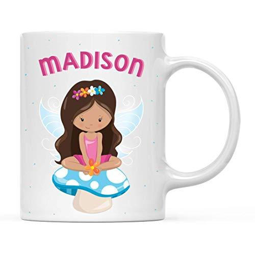 N\A Taza Personalizada de Chocolate Caliente con Leche para niños, Princesa Rosa de Cuento de Hadas con Hongo Azul, Paquete de 1, Taza de café de Navidad Personalizada para cumpleaños Infantil