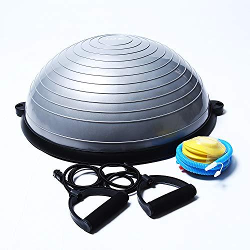 ISE Balance Trainer Fitball Bola de Equilibrio para Entrenamiento, Media Bola Ø 58cm,con Cables y Bomba de Resistencia para Pilates y Yoga, Gris, BAS1001