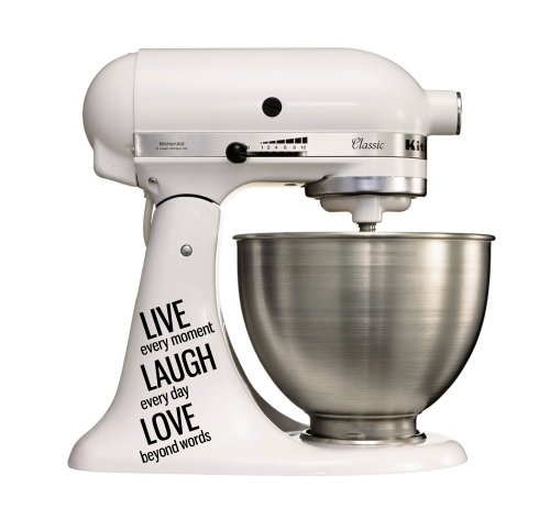 Accessoires Decor Tattoo Sticker voor de keukenmachine Kitchenaid Artisan - Live Laugh Love zwart