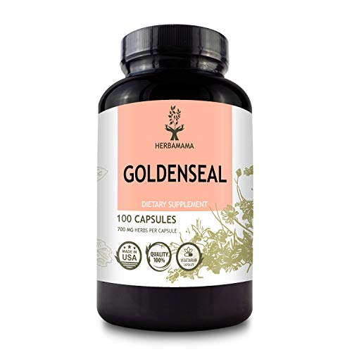 HERBAMAMA Goldenseal Capsules - 700 mg, 100 Caps - Organic Nutritional Supplement - Women's Health, Digestive Function, Allergy Relief & Weight Management Support - Vegan & Non-GMO Goldenseal Root