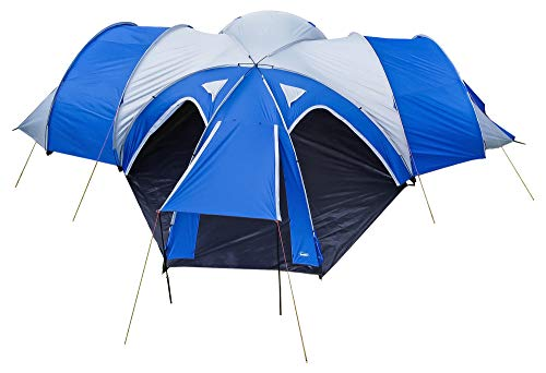 Andes 3 Bedroom + 1 Living Room, 6-8 Man Family Group Camping Tent, Festival Hiking Outdoor Tunnel Dome 3000mm Blue