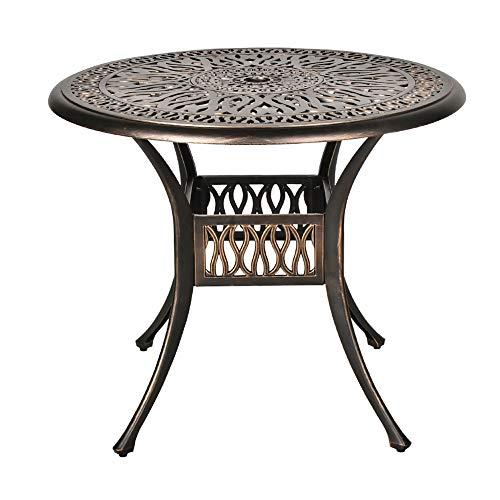 "TITIMO 35.4"" Diameter Outdoor Round Patio Bistro Dining Table Cast Aluminum Conversation Table with 2.0"" Umbrella Hole"