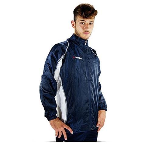 Legea heren regenjas Storm met capuchon K-Way Rain Jacket waterdicht running voetbal lopen training sport blauw-wit (S)