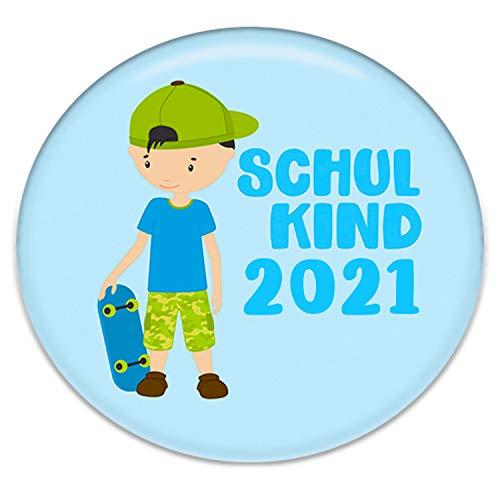Polarkind Button Pin Anstecker Schulkind 2021 Geschenk zum Schulanfang Junge 38mm Handmade