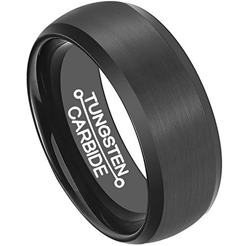 Anillos de tungsteno para hombre, anillo de boda de 8 mm, centro con acabado mate cepillado, cómodo ajuste