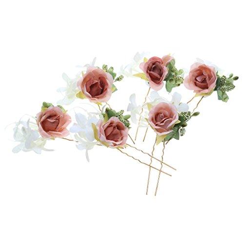 6pcs Horquillas de Flores Pelo de Palillo Guirnalda Accesorios Novia - Marrón
