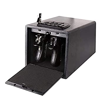 Electronic Quick Access Handgun Safe with Wall Mount Bracket Auto-Open Lid and Alarm-U Security Alarm for Home Safe
