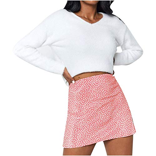 KIMODO Tennisrock Minirock Damen A-Linie Plissee Schnür Bandage Kurzrock Bedruckter Rüschenrock Fitness Yoga Skort Skirt für Mode Frauen Mädchen (E-Rosa, S)