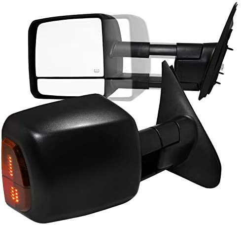 Spec-D low-pricing Tuning Black Power Towing Sign Popular products W Heated Telescopic Mirror