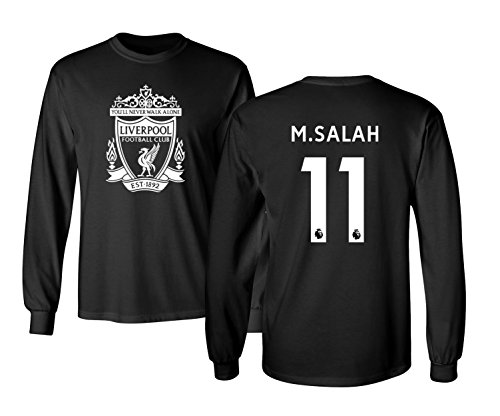 Tcamp Liverpool #11 Mohamed Salah Premier League Boys Girls Youth Long Sleeve T-Shirt (Black, Youth Small)