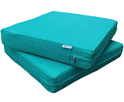 QQbed 2 Pack Outdoor Patio Deep Seat Memory Foam (Seat and Back) Cushion Set with Waterproof Internal Cover - Size 18'X16'X4' Peacock Blue
