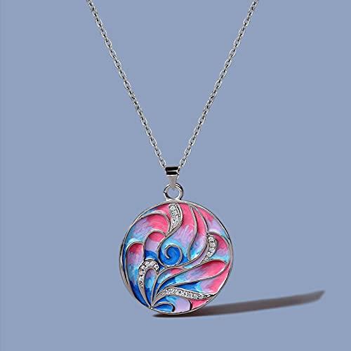 DOOLY Exquisito Esmalte Color Rosa Flor Pendiente Collar 925 Artículo de Plata Color Esmalte Hecho a Mano Línea de Mujer Cadena de suéter geométrica