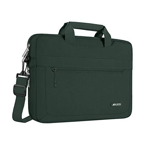 MOSISO Umhängetasche Laptoptasche Kompatibel mit 13-13,3 Zoll MacBook Air, MacBook Pro, Notebook, Computer, Polyester Schultertasche mit Einstellbar Tiefe beim Unterseite,Mitternacht Grün