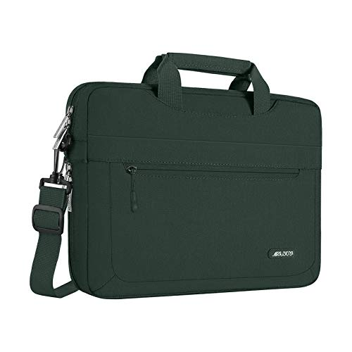 MOSISO Laptop Briefcase Shoulder Bag Compatible with MacBook Pro 16 inch A2141, 15-15.6 inch MacBook Pro, Notebook Polyester Messenger Carrying Sleeve with Adjustable Depth at Bottom, Midnight Green