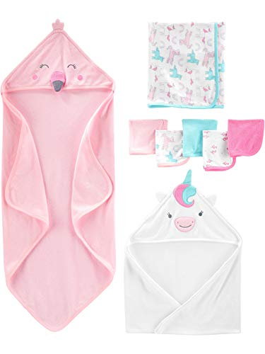 Simple Joys by Carter's Baby Girls - Juego de Toallas y toallitas para bebé (8 Piezas), Multicolor, One Size