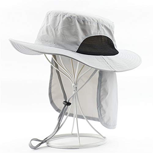 ZZDH Sombrero Pesca 2 en 1 Impermeable con colgajo de Cuello para Mujer Cola de Caballo Playa Gorra Masculino upf50 + Sombrero de Sol Pesca al Aire Libre Senderismo Sol Pescador Sombrero
