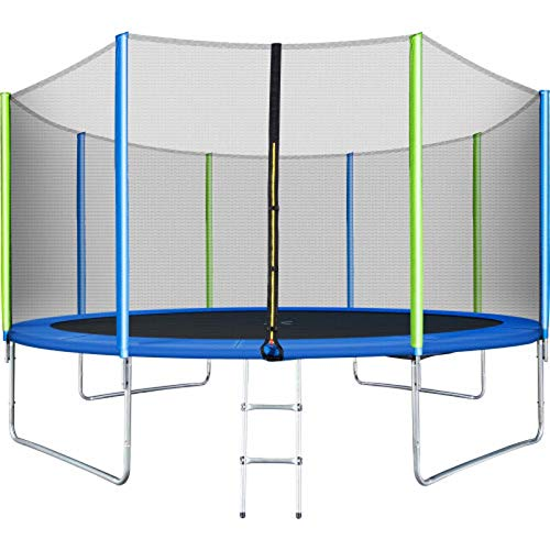 Trampoline Enclosure 14 Ft Trampoline for Kids with Safety Enclosure Net Ladder and 8 Wind Stakes Round Outdoor Recreational Trampoline