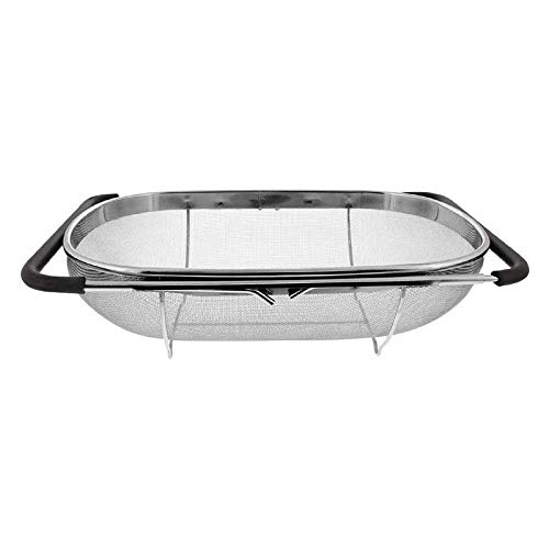 Andifany Sink Colander Strainer Basket Steel,for Kitchen Sink with Rubber Grip,Fine Mesh Steel,Expandable Metal Strainer
