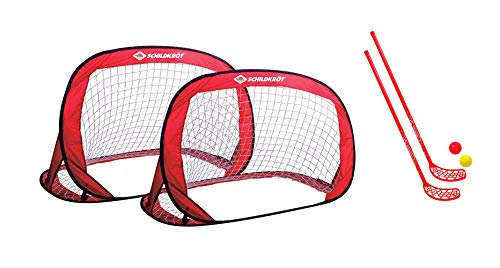 Schildkröt Pop-Up Goals, 2er Set Tore, 120 x 80 x 80cm, ideal für Fußball, Hockey, incl. Heringen und Anleitung, in praktischer Tasche (2er Set Tore + Fun-Hockey Set)