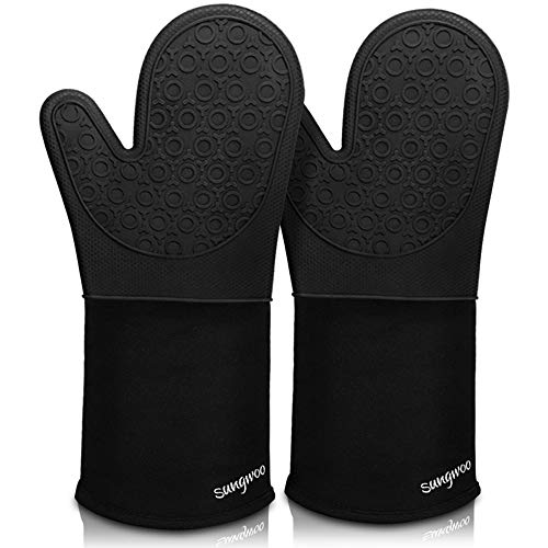 Sungwoo Extra Long Silicone Oven Mitts, Durable Heat Resistant Oven Gloves with Quilted Liner Non-Slip Textured Grip Perfect for BBQ, Baking, Cooking and Grilling - 1 Pair 14.6 Inch Black