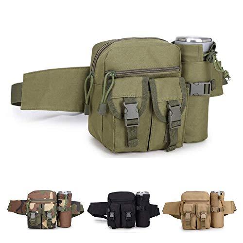 HYCOPROT Tactical Taillentasche Military Gürteltasche Verstellbare Schultertasche mit Wasserflaschentasche zum Angeln Jagen Camping Wandern (Grün)