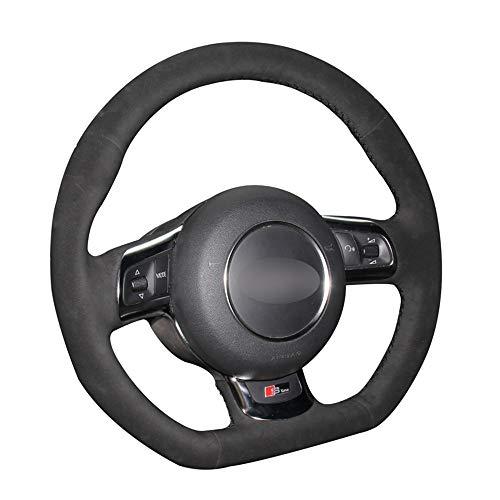 Cubierta de Volante de Coche de Gamuza Negra DIY Cosida a Mano, para Audi TT TTS (8J) 2006-2014 A3 S3 (8P) Sportback 2008-2012 R8 (42