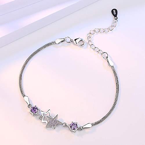 Pulsera Joyas Pulsera De Estrella De Cinco Puntas De Moda Simple De Plata Esterlina para Pulseras Y Brazaletes De Mujer Púrpura