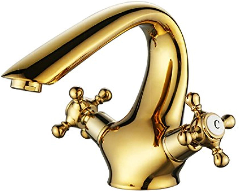 LHbox Europische Wasserhahn Warmes und Kaltes Goldene Becken Groe Antike Kupfer Waschbecken im Bad Armaturen, Golden 213 G