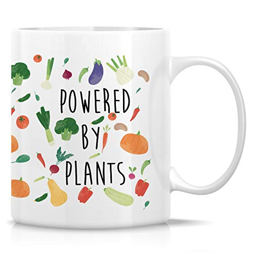 Retreez Funny Mug - Powered By Plants Vegan Vegetarian 11 Oz Ceramic Coffee Mugs - Funny, Sarcastic, Motivational, Inspirational birthday gifts for friends, him her coworkers, sister, bro, dad, mom