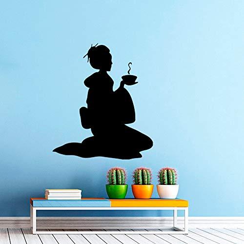 ONETOTOP Japon Geisha Fille Thé Cérémonie Sticker Décor À La Maison Japonaise Femme Oriental Vinyle Autocollant Mural Chambre Intérieur Art MuralS 57 * 69 cm